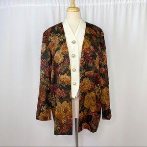 vintage button up tapestry print jacket